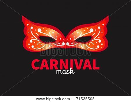Red decorated carnival mask isolated. Vector illustration.