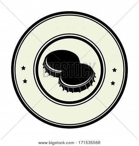 monochrome circular frame with metal beer lid vector illustration