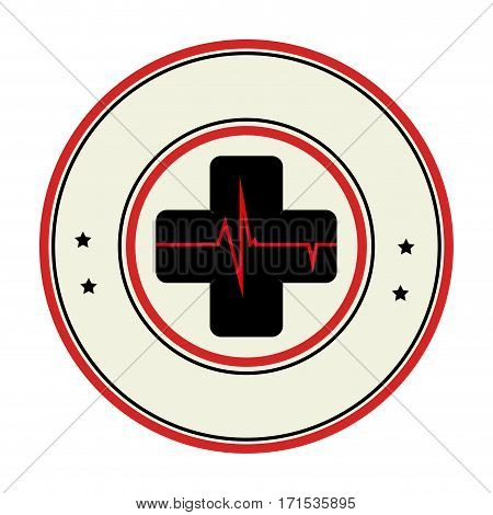 color circular emblem with cross with line vital sign vector illustration