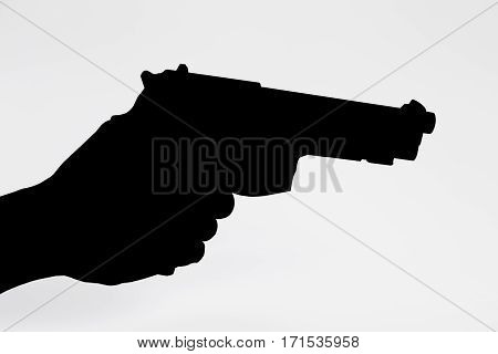 black gun on while background, isolated at Thailand
