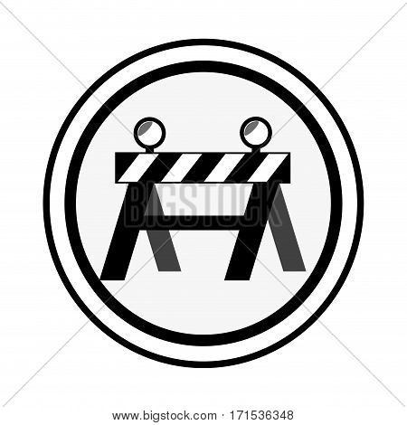 monochrome circular emblem with barrier closed road vector illustration