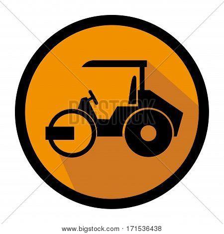 color circular emblem with road roller vector illustration