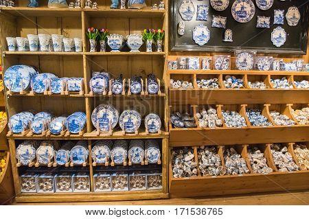 Zaanse Schans, Netherlands - December 13, 2016: The Decorations in the souvenir shop for tourists, Zaanse Schans, Holland