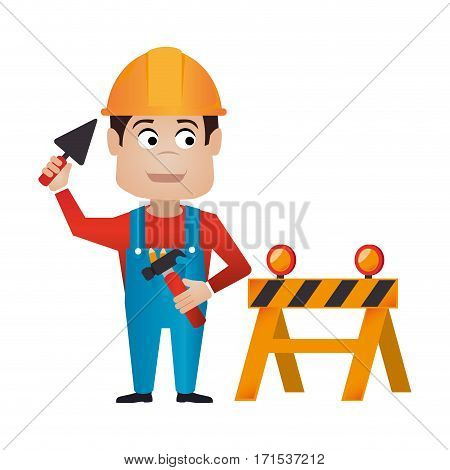 color silhouette with worker with helmet and barrier closed road vector illustration