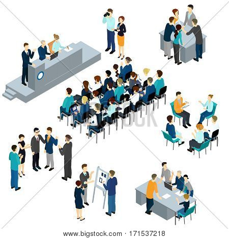 Isometric people teamwork set with business presentation conference coworking workplace brainstorming and discussion isolated vector illustration