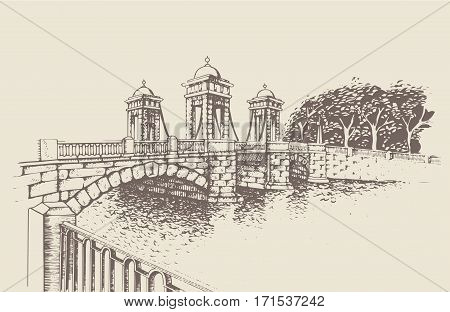 Historic bridge on Fontanka embankment, St. Petersburg. Monument of culture of the city bridge construction. Traced image. Original drawings by hand, you can also find in my portfolio BITMAP folder.