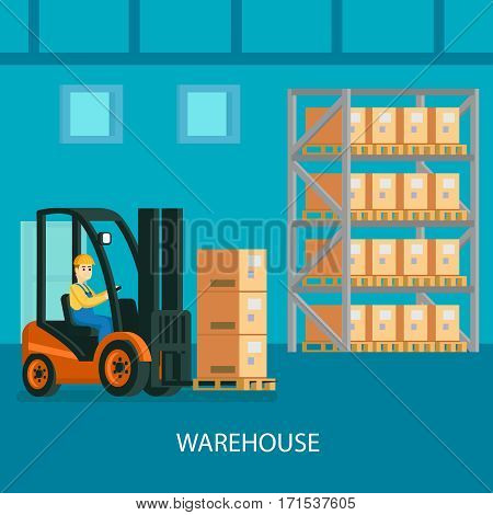Warehouse interior colorful composition with forklift truck with driver transporting cardboard boxes vector illustration