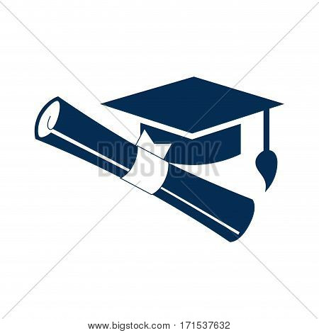monochrome silhouette graduation cap with certificate vector illustration
