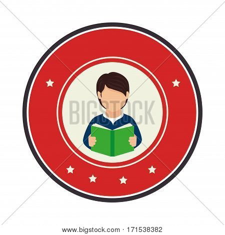 color circular frame with half body man with book vector illustration