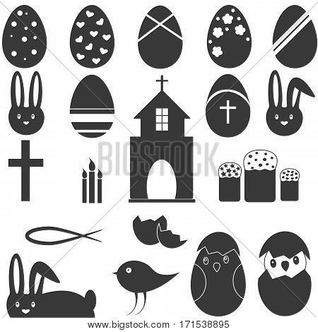 Set Christian Symbol Set Easter eggs bunny