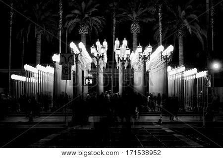 Black and White long exposure photo at night of the Urban Lights exihibition in the Los Angeles County Museum of Art on Nov 2016.