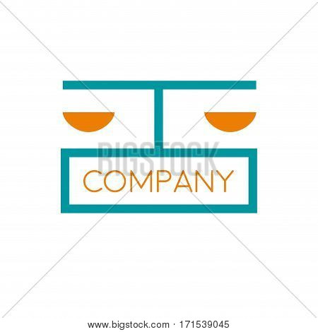 Vector sign lawyer blue and orang, isolated on white