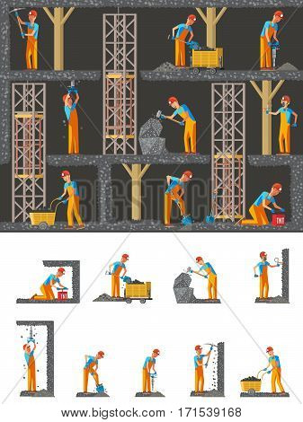 Mining industry flat composition with working miners holding different instruments and tools vector illustration