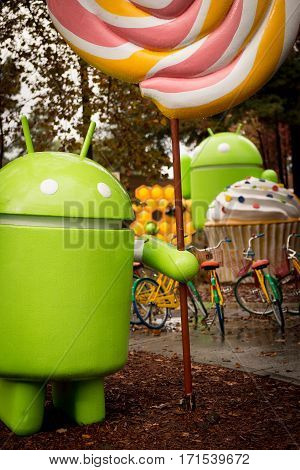 Android figures by the name of desserts on Google Campus in Silicon Valley Nov 2014.