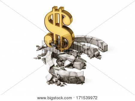 3D concrete Euro symbol destroyed by gold Dollar sign. Exchange rate of Euro is fall.
