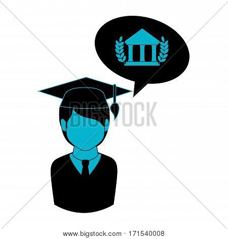 monochrome half body man with graduation outfit and bubble speech parthenon vector illustration
