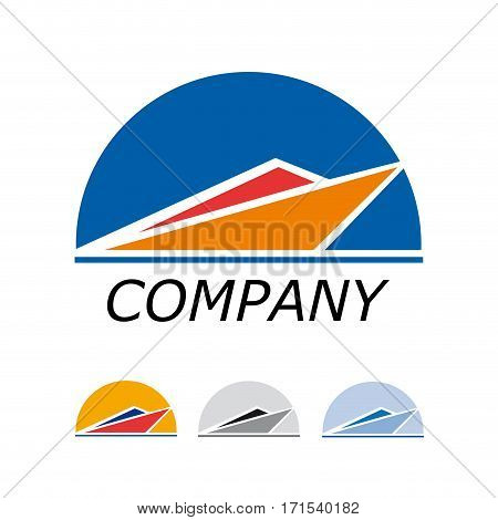 Vector sign orange speedboat, isolated on white