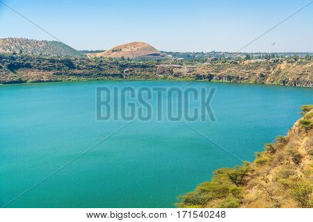 A lake in Africa Etophia. Turquise water and dried land.