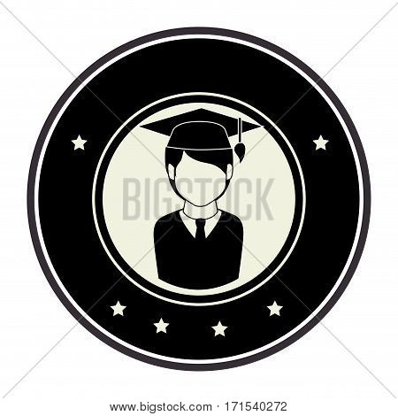 monochrome circular emblem with half body man with graduation outfit vector illustration