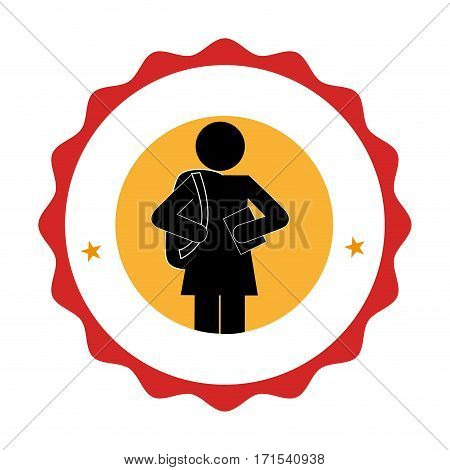 silhouette pictogram emblem with student girl vector illustration