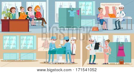Medical treatment horizontal banners with woman in queue before consultation and plastic surgery in hospital vector illustration