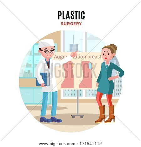 Colorful plastic surgery template with doctor and female patient before augmentation breast medical operation vector illustration