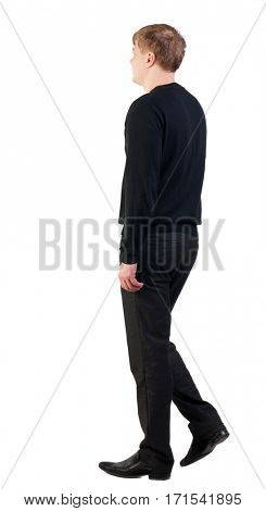 back view of walking  business man. doomed man goes to work. going young guy in red shirt. stylishly dressed in formal wear young man. Isolated over white background. Rear view people collectio