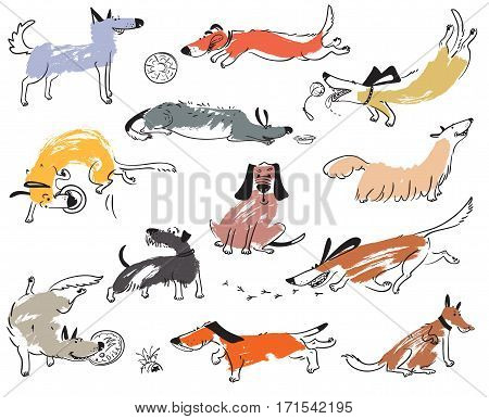 Hand drawn doodle cute dogs. Illustration set with plaing pets with disk freesbee ball sniffing tracking. Artistic canine vector characters