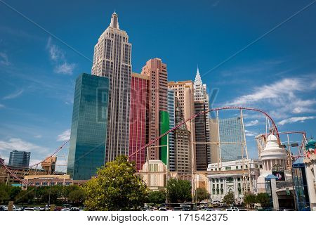 New York New York Hotel and Casino view from the street in Las Vegas on May 2014. It has the famous outdoor Roller Coaster,