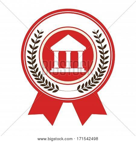 stamp with crown leaves and silhouette with greek temple parthenon vector illustration