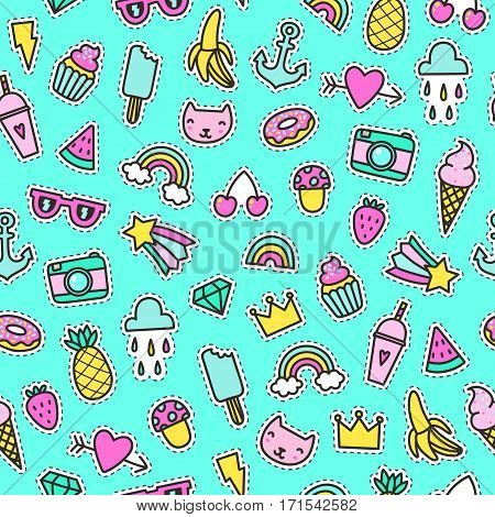 Cute pins seamless pattern. Vector hand drawn background
