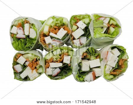 vegetable spring roll is healthy food low calories sugar and carbohydrate appropriate with weight control