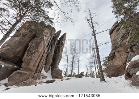 Reserve Krasnoyarsk Pillars. Rock Feathers winter landscape