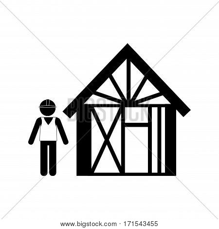 silhouette man buiding wooden house vector illustration