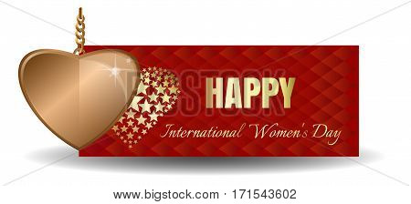 Golden heart against the backdrop of a greeting card. Happy International Women's Day. Golden heart and greeting inscription on a red abstract background. Vector banner for Women's Day