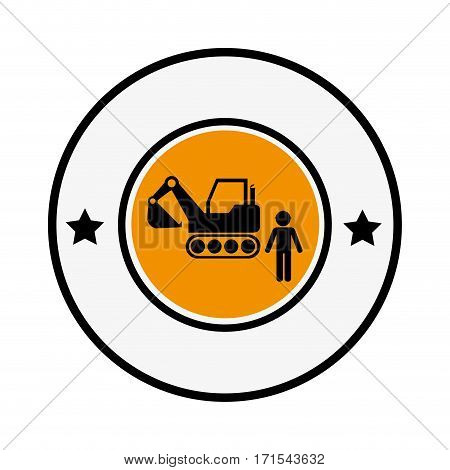 circular frame with pictogram with forklift truck with forks vector illustration