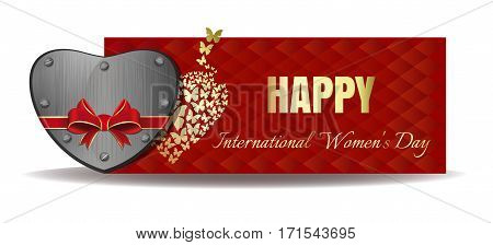 Iron heart tied with red ribbon on the background of a greeting card. Gold greeting inscription on an abstract red background. Happy International Women's Day. Vector banner for Women's Day