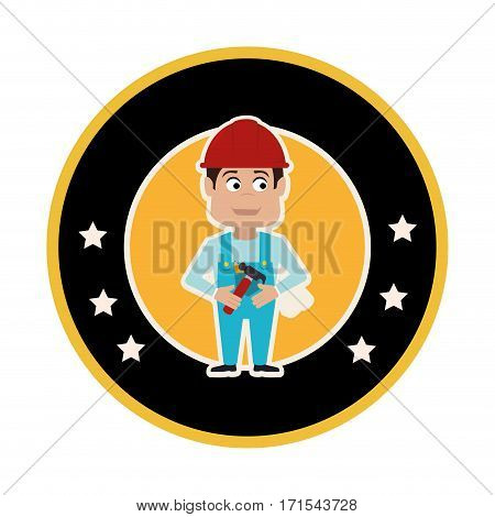 circular frame with silhouette man carpenter and and decorative stars vector illustration