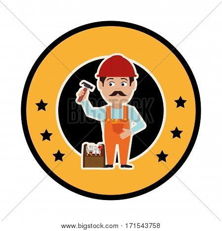 circular frame with silhouette man carpenter and toolbox vector illustration