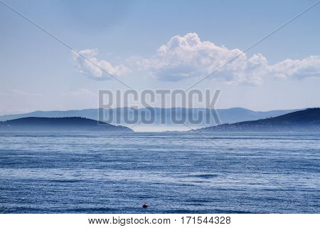A scenery from Marmara Sea and some part of Prince Islands
