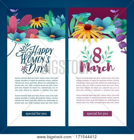 Set of vertical banners for the International Women's Day. Flyers March 8 with the decor of flowers. Invitations with floral frame for the Women's Day. Vector