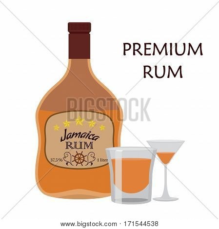 Alcohol drink, rum with glass. Jamaica rum in flat style design. Vector illustration. Liquor for pubs restaurants hipster bars