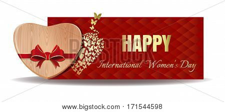 Wooden heart tied with red ribbon on the background of a greeting card. Gold greeting inscription on an abstract red background. Happy International Women's Day. Vector Women's Day card  template