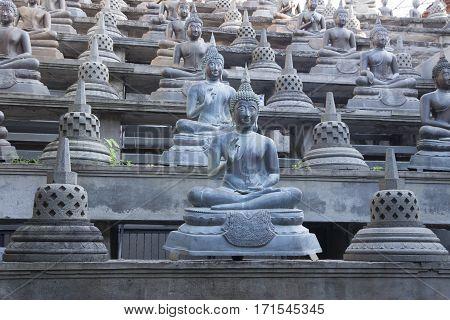 Buddhist statue in Gangaramaya Temle. Sri Lanka