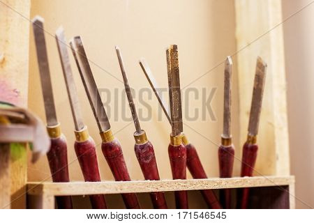 wood turner's working chisels in his workshop