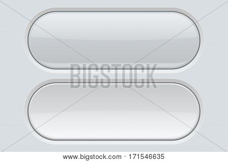 White oval plastic buttons. Blank icons. Vector illustration