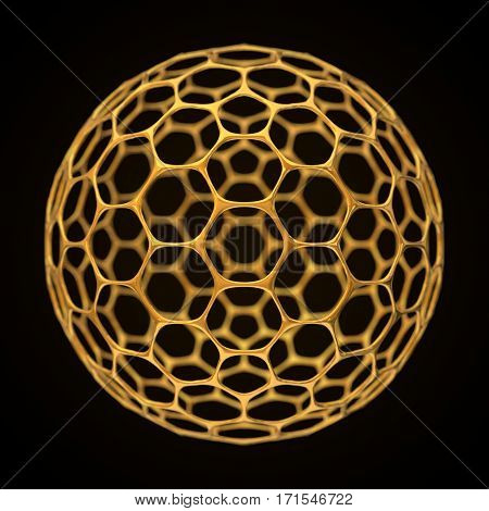 conceptual 3d illustration of spherical graphene structure with big holes. golden version.