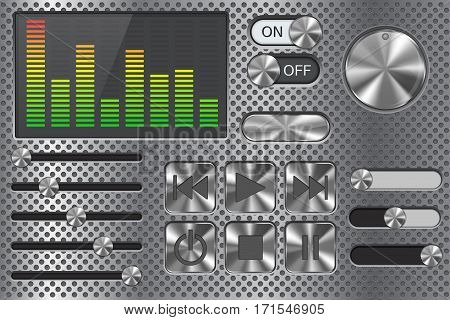 Sound equalizer with slider and media player buttons. Metal perforated background collection. Vector illustration