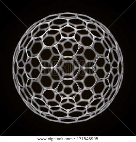 conceptual 3d illustration of spherical graphene structure with big holes.