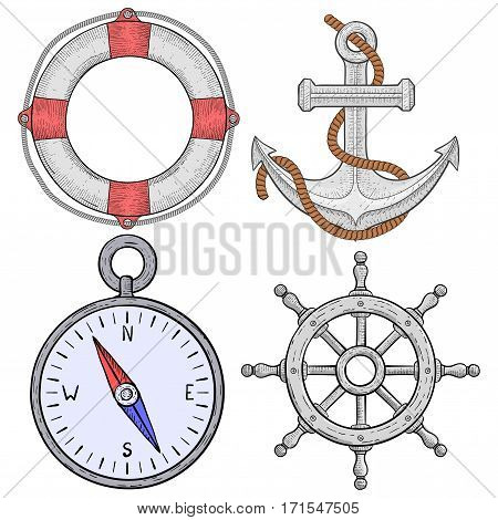 Nautical symbols. Hand drawn sketch. Vector illustration isolated on white background